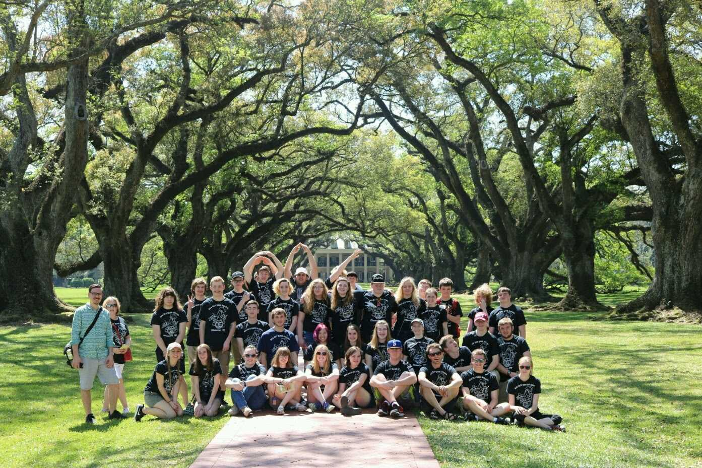 Band members at the Oak Alley Plantation in New Orleans over spring break