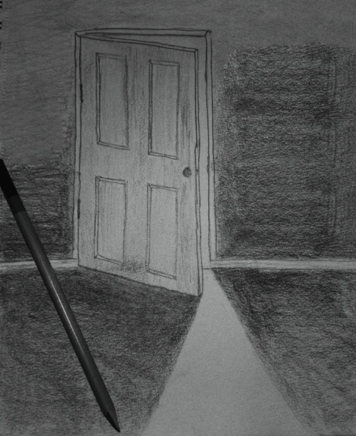 Drawing of a cracked door with light peeking through.