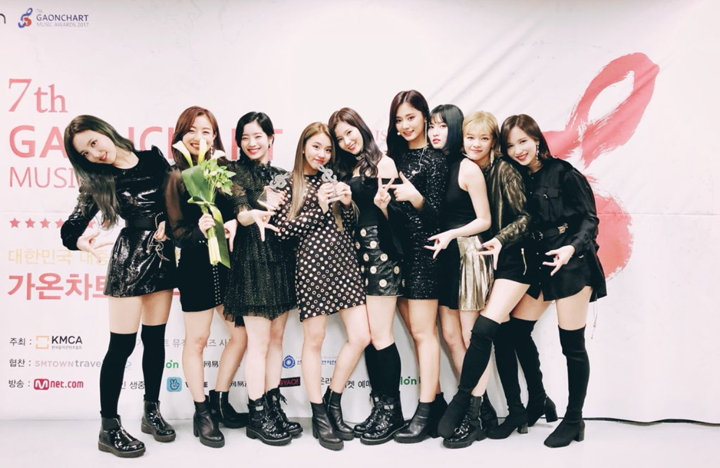 Girls Group Twice posing for their fans