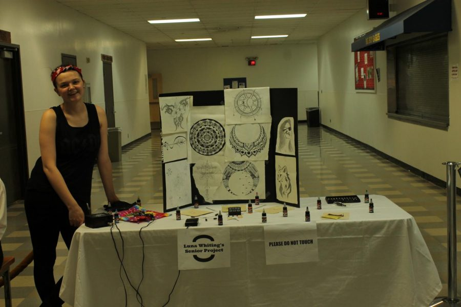 Luna Whiting set up her senior project in the waiting area for visitors to see what her senior project is on