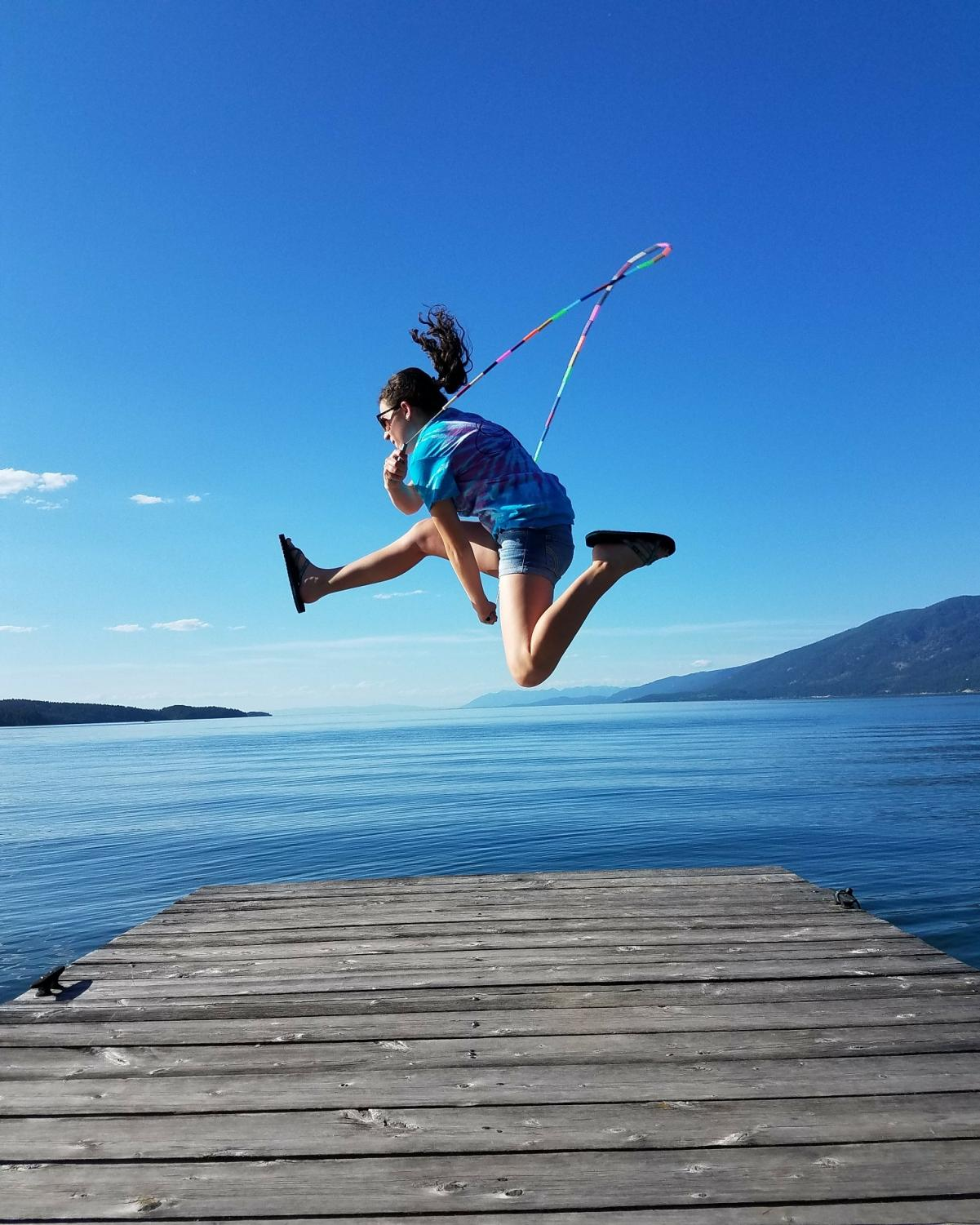 Kylee McCloney jump roping at Flathead lake.