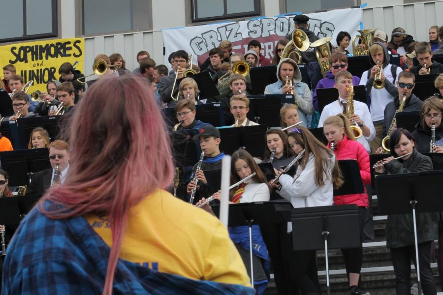 Big Sky Pep Band Playing in the stands