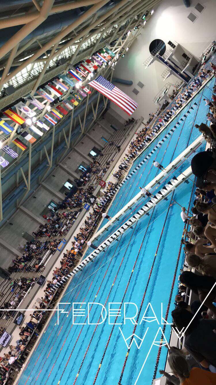 Junior swimmer Hannah Jourdonnais snapped this photo at the King County Aquatic Center at a meet last year. Here's to a great season for Eagle swimmers!