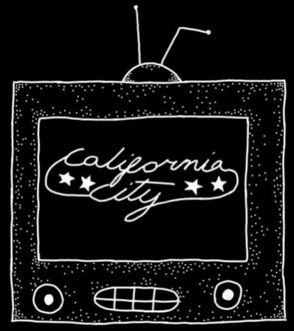 A skech of a t.v. with four stars and the name California City is the screen of the t.v.