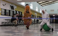 person in a t-rex costume races person in a bunny costume