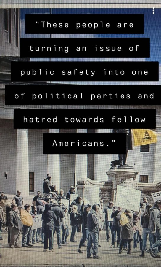 quote over an image of protesters: These people are turning an issue of public safety into one of political parties and hatred towards fellow Americans.